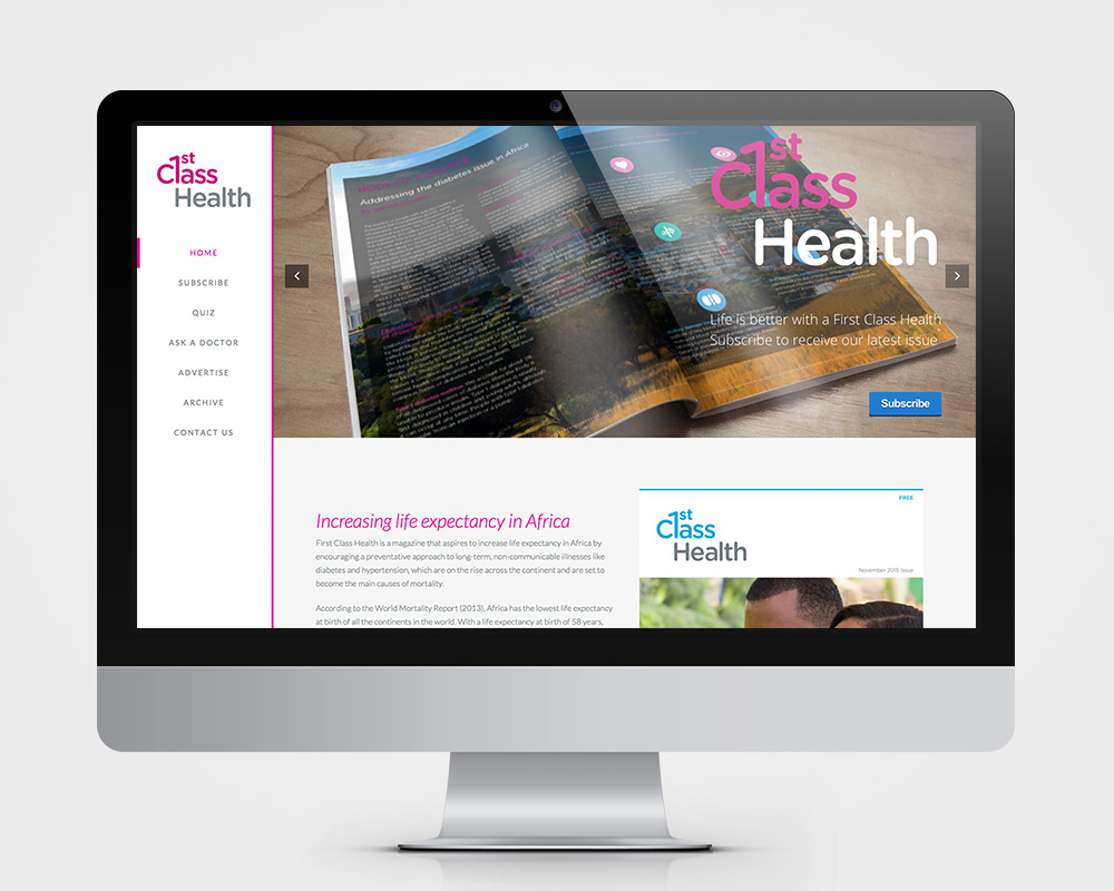 First Class Health Website iMac