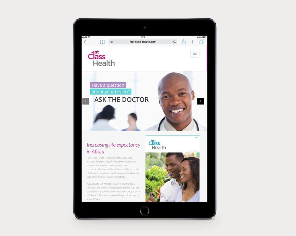 First Class Health Website iPad